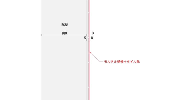 壁タイル貼の一般的な納まり