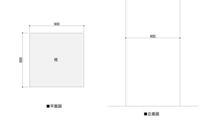 RC柱の平面図と立面図