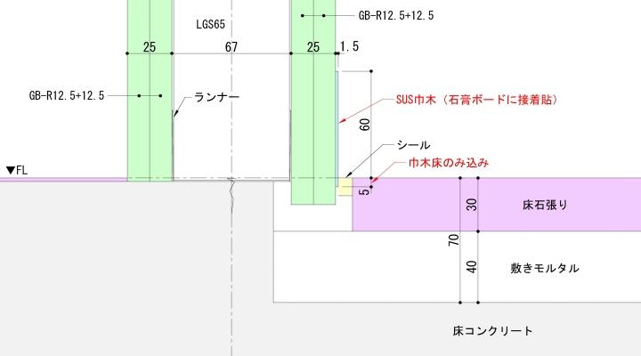床石+SUS巾木の納まり例