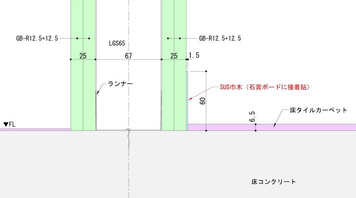床タイルカーペット+SUS巾木納まり例