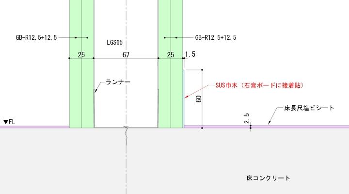 床長尺塩ビシート+SUS巾木納まり例