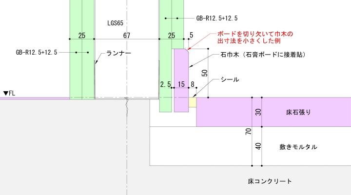 出巾木の出寸法を調整した納まり例