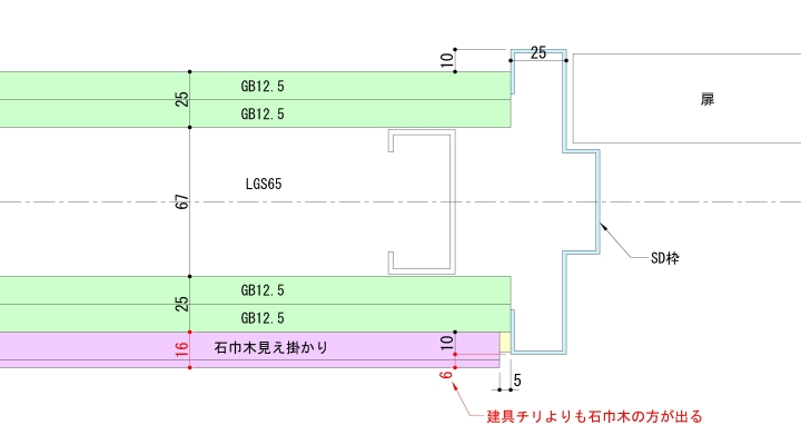 巾木を表現した建具まわり納まり図