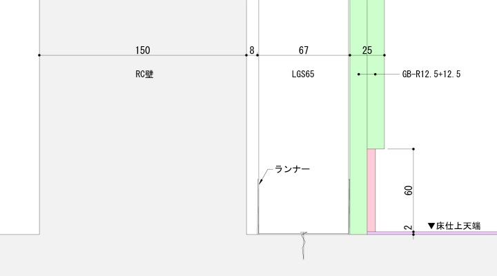 RC壁+LGS入巾木納まり例