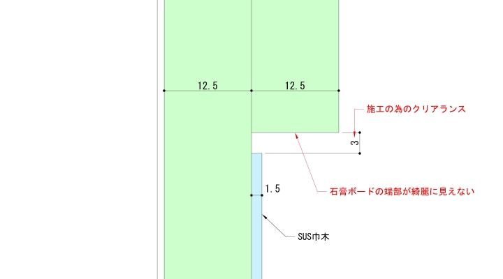 入巾木と石膏ボード端部の拡大図