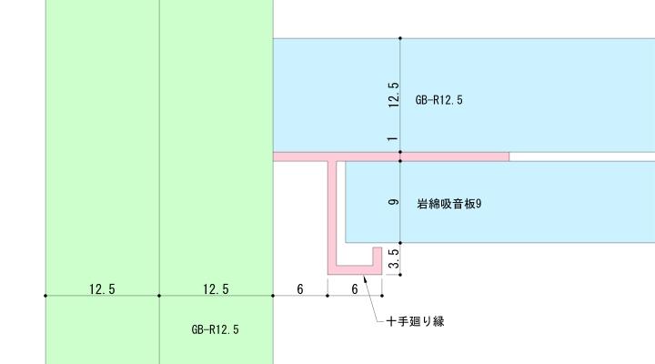天井二枚貼+十手廻り縁の納まり