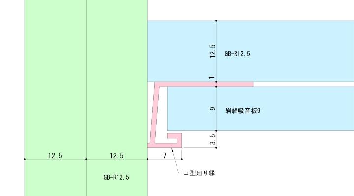 一般的なコ型廻り縁の納まり例