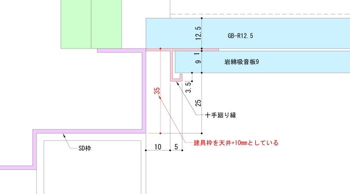建具上枠を伸ばした納まり例