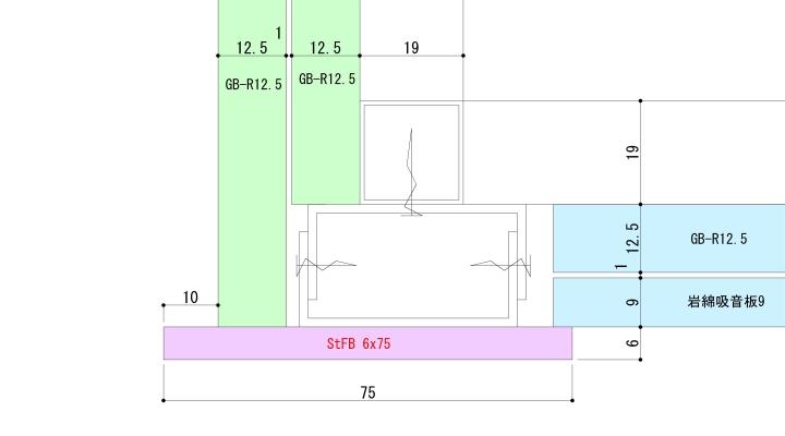 下り壁見切にフラットバーを使った納まり例