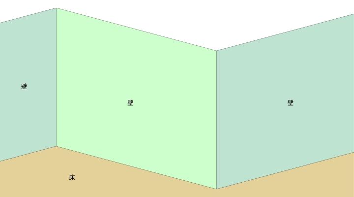 アイソメだと遠近に関わらず壁の寸法は同じ