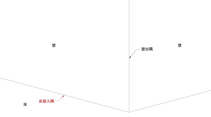 15°の場合の床壁入隅線の表現